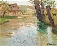river landscape, arques, dieppe by frits thaulow