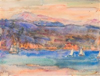 sailing boats at lavagna, italy by john peter russell