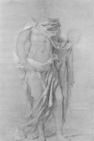 a draped figure holding a globe in his left hand by louis galloche