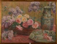 nature morte aux roses, aux lilas et aux porcelaines de chine by valerie geleedts