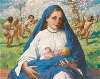 madonna mit kind unter blühenden zweigen by eduard ansen-hofmann