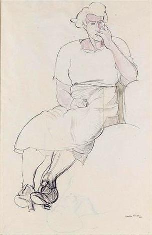 pensive woman by wyndham lewis