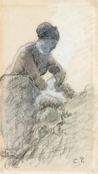 femme de profil penchee (recto) homme a la houe (verso) by camille pissarro