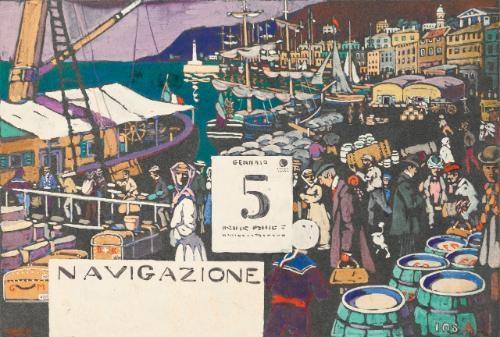 entwurf für ein schiffsplakat study for a ship poster by wassily kandinsky