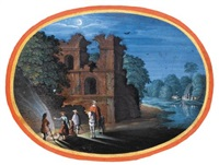 travellers gathered around a fire, by a ruin, in the moonlight by johann (hans) konig