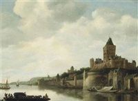 a view of the valkenhof, nijmegen by frans de hulst
