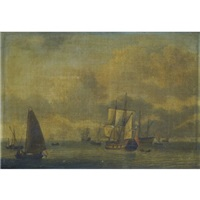 a dutch man o'war and other sailing vessels in calm waters by adam silo