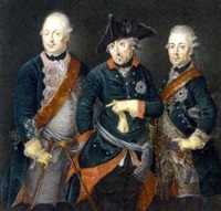 frederick the great, king of prussia, in the uniform of the prussian life guards, frederick william ii, king of prussia, and prince henry by anton friedrich könig