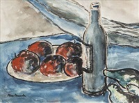 still life with red apples and wine bottle by max maccabe
