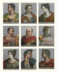 a rare set of 24 portraits of roman emperors and their consorts, in classical poses, dresses in armour and draped clothing, together with the personification of rome (24 works) by titian (tiziano vecelli)