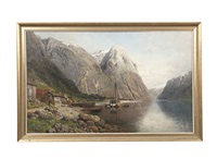mailboat in norwegian fjord by anders monsen askevold