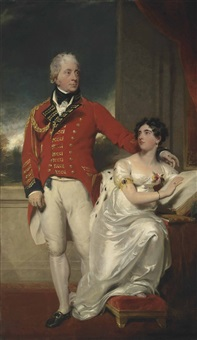 portrait of general albemarle bertie, 9th earl of lindsey (1744-1818) and his second wife, charlotte susanna elizabeth (1780-1858), daughter of the rev. charles peter layard, dean of bristol, full-length, he in military uniform, she in a white dress by thomas lawrence