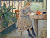 girl reading on a shaded balcony by louis charlot