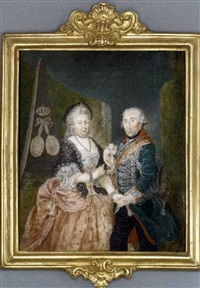the prussian royal silver wedding anniversary portrait: frederick the great king of prussia presenting a posy of pink roses, holding the right hand of his wife, elisabeth christine of brunswick-bevern by anton friedrich könig