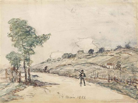 a labourer on a country road in a pastoral landscape by johan barthold jongkind