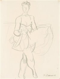 danseuse (+ femme à l'éventail, lithograph; 2 works) by maurice barraud