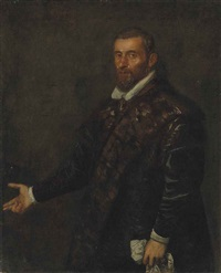 portrait of a bearded man, half-length, in a dark fur-lined coat, holding a handkerchief in his left hand by jacopo robusti tintoretto