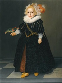 portrait of a child, aged 2¼, full-length standing in an interior, holding a parrot by dirck dircksz van santvoort