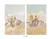 arabic warriors on the charge (+ another similar; pair) by giulio rosati