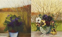 two floral still-lifes (2 works) by lydia dmitrievsky