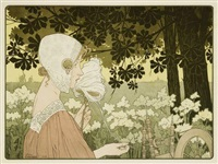 la fileuse; la brodeuse (set of 2) by henri privat-livemont