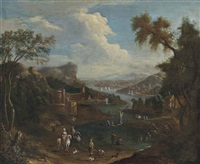 a river landscape with travellers on a bank, figures on boats and a settlement beyond by mathys schoevaerdts