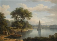 a view of richmond bridge; and a highland landscape, with a castle by a lake shore (pair) by jane nasmyth