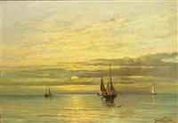 fishing boats on a calm sea by jacob willem gruyter