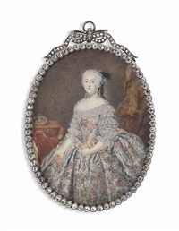 elisabeth christina of brunswick-wolfenbüttel-bevern (1715-1797), queen consort of frederick the great, in silver silk dress embroidered by anton friedrich könig