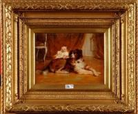 portrait d'un bébé accompagné de son chien by rudolf wimmer