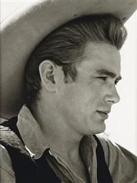 james dean on location for giant in marfa, texas by sid avery
