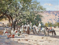 resting at an oasis by victor pierre huguet