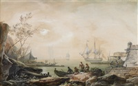 vista fantasiosa da entrada do porto de lisboa com torre de belém by alexandre jean noel