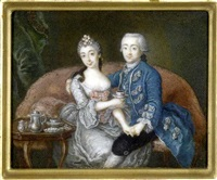 a couple seated on a red upholstered sofa, the gentleman holding the lady's left hand and his right arm around her shoulders...she, holding a cup and saucer by anton friedrich könig