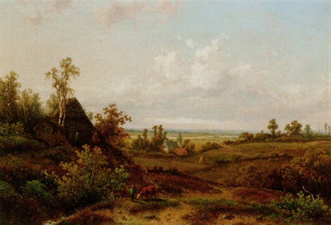 a young cowherd near a cottage in a summer landscape by claus hendrik meiners