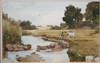 the harvest (+ cattle by a stream; pair) by jack cudworth