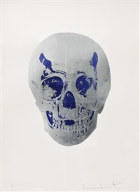the dead (silver gloss/westminster blue skull) by damien hirst