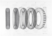 five tyres remoulded (portfolio of 8 w/justif.) by richard hamilton