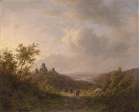 wanderer in weiter landschaft by johann bernard klombeck