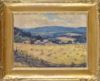 a canadian landscape with a cornfield and a farm in the foreground by manly edward macdonald