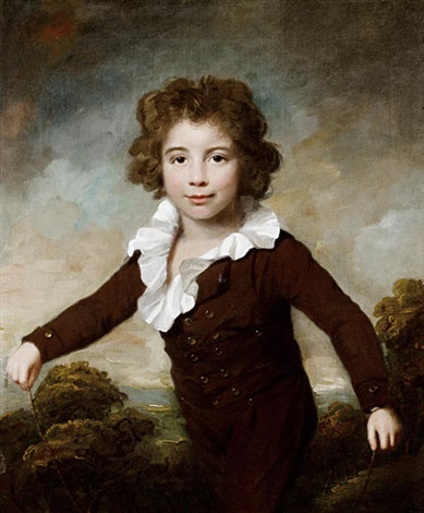 portrait of a young boy in a brown coat and breeches, holding a skipping rope before a landscape by lemuel francis abbott