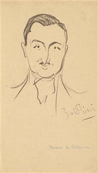 caricature du comte pierre-marie-xavier de polignac (1895-1964) by giovanni boldini