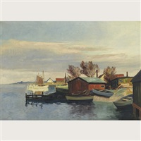 harbour scene by frederick wilhelm jacobsen