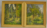 woodland landscape and woodland landscape with nude bathers (2 works) by frédéric ragot