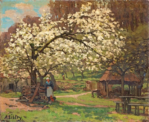 paysanne sous les arbres fruitiers by alfred sisley