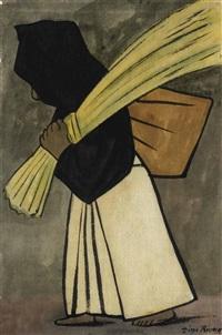 mujer cargando un bulto y paja by diego rivera