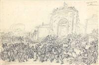 le combat de la porte saint-denis (+ étude de personnages, verso) by hippolyte lecomte