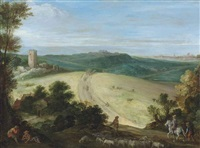 an extensive wooded landscape with a shepherd and his flock, a ruined tower and city beyond by paul bril