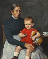 portrait of a young boy and his nanny by herman albert gude vedel
