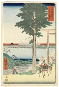two oban tate-e prints: one of massaki-hen yori suijin no mori uchigawa sekiya no sato o miru zu (view of suijin grove from the neighbourhood of masaki) from the series meisho edo hyakkei (100 famous views of edo) by ando hiroshige